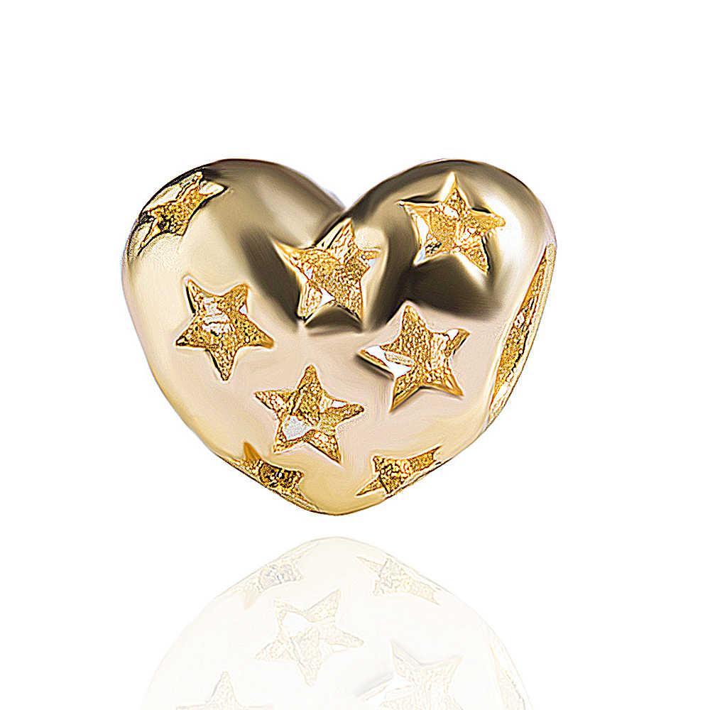 5pcs estrelas coração beads Europeus diy fazer jóias pulseira pulseira acessórios de jóias pingente de liga de zinco conector mirco pave