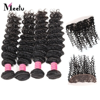 Meetu Indian Human Hair 4 Bundles With Lace Frontal Non Remy Deep Curly 3 Bundles With Closure With Baby Hair Natural Closure
