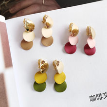 Korean Geometric Earrings Round Clip on Earing Without Piercing Women Jewelry Yellow Pink No Piercing Hole Ear Clip(China)