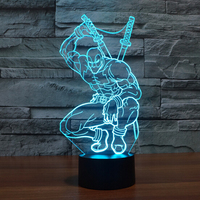 Hot NEW 7color Changing 3D Bulbing Light Deadpool 3 Avengers Visual Illusion LED Lamp Creative Action