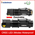 zk84 CREE Q5 LED Flashlight Waterproof Torch Adjustable Focus Zoomable Light Lamp 3 modes For Bicycle Hiking