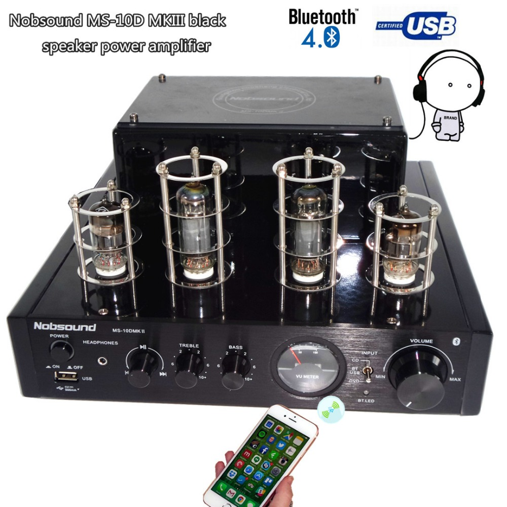 NEW black Nobsound MS-10D MKII tube amplifier Bluetooth amplifier Audio headphone amp usb lossless music Play Hifi 2.0 amplifier appj pa1502a tube headphone amplifier