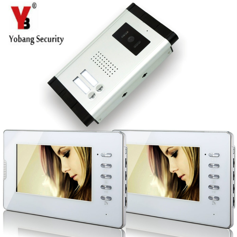 YobangSecurity White 7 Inches Color Wired Video Doorbell Door Chime,Rainproof Door Phone For 2 Units Villa Apartment Intercom
