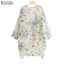 ZANZEA Summer Tunic Cardigan Women Floral Printed Long Kimono Ladies Chiffon Tops Blouses Sleeve Work Office Outwear Shirts