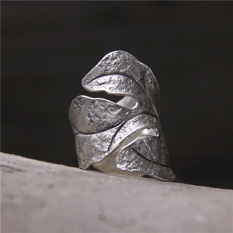 handmade silver 925 sterling silver ring leaves men and women Thai silver restoring ancient ways do old opening ring 925 silver men s ring thai silver national wind restoring ancient ways domineering silver ring pop open wholesale offered