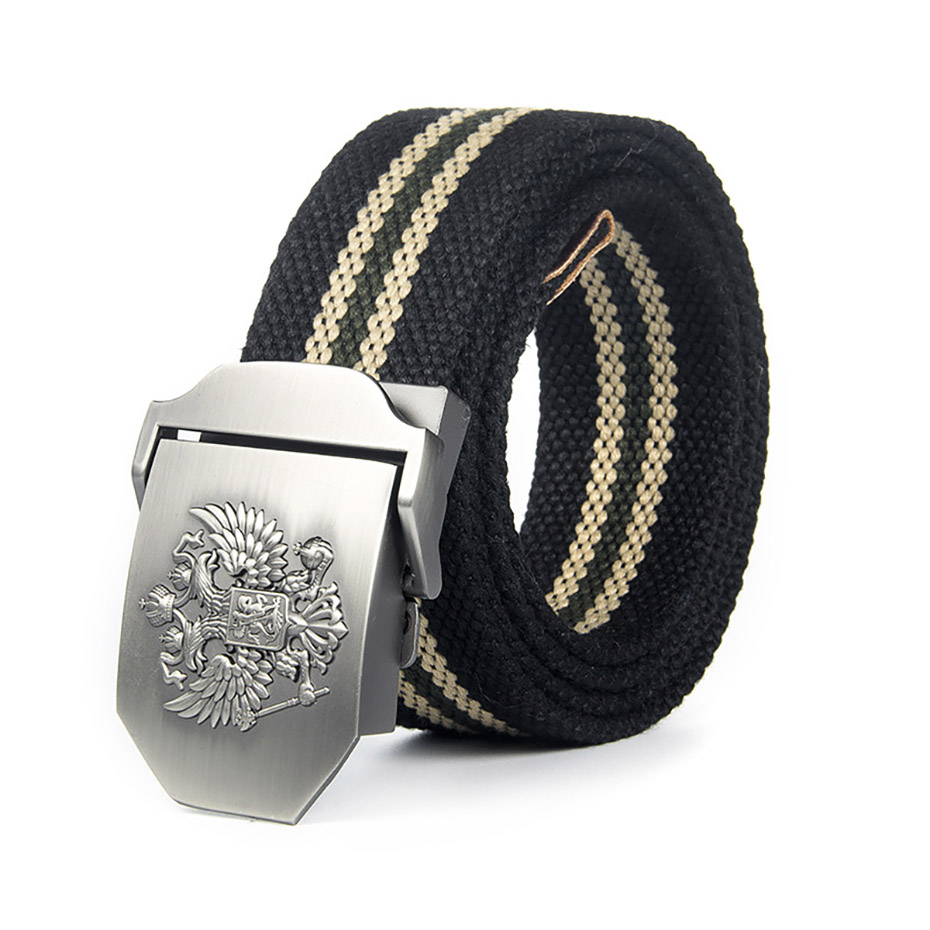 Fine Unisex Russian National Emblem Canvas Tactical Belt High Quality Military Belts For Mens & Women Luxury Patriot Jeans Belt 120cm Relieving Rheumatism And Cold