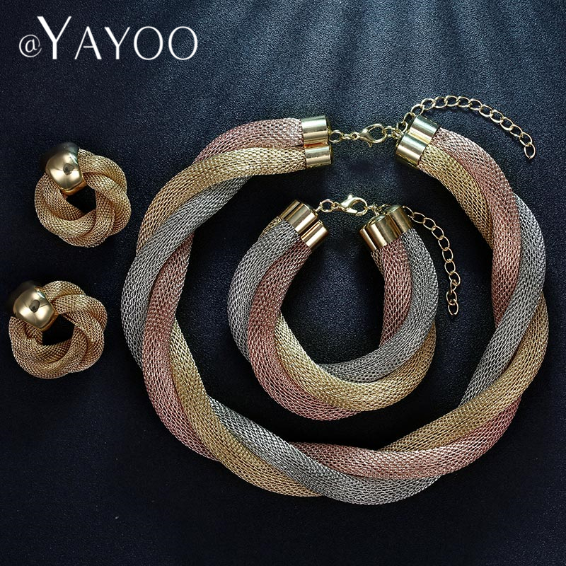 AYAYOO Jewelry Sets Elegant Women Wedding African Beads Jewelry Set Dubai Rose Gold Silver Color Jewelry Sets Jewelery Costume