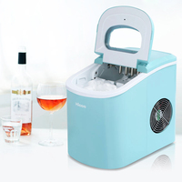 Electric Ice Maker Commercial Ice Machine 12kg/24H Manually Adding Water Household Milk Tea Shop Cafe Ice Maker Machine 95W Red