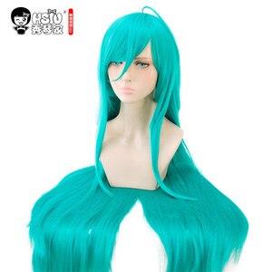Image 1 - HSIU Arazi Parlak Alexandrite Cosplay Peruk Houseki hiçbir Kuni Kostüm Oynamak Peruk mavi yeşil uzun peruk Cadılar Bayramı kostümleri Saç