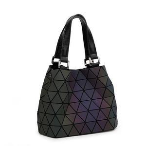 Image 5 - Maelove Luminous bags Women Geometry lattic Sequins Mirror Saser Plain Folding Bags Casual Tote bag Hologram Free Shipping