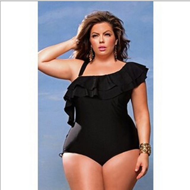 777ab08457 one shoulder Plus Size swimwear asymmetrical sexy One-piece Swimsuit plus  size black Swimming suit