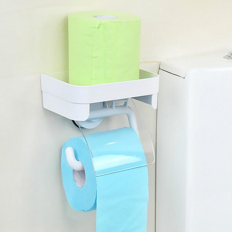 Dehub toiletrolhouder met opbergrek Zuignap toiletrolhouder papieren - Huishouden