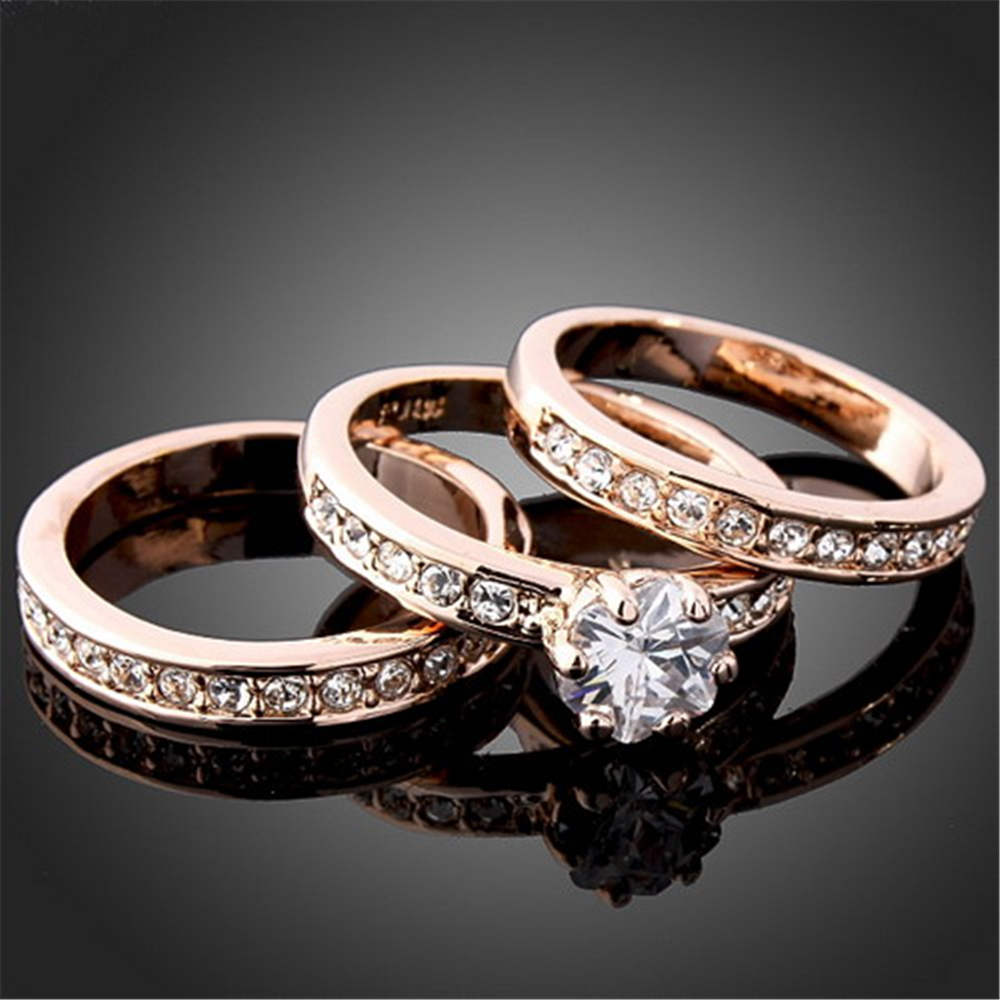 High Quality 3 Circles Engagement Rings Sets For Women