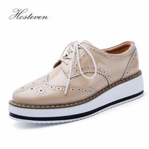 Image 3 - Hoستيفن أحذية نسائية المتسكعون عادية جلد طبيعي ثقب الأحذية الأخفاف السيدات حذاء امرأة الإناث الشقق الأم الأحذية