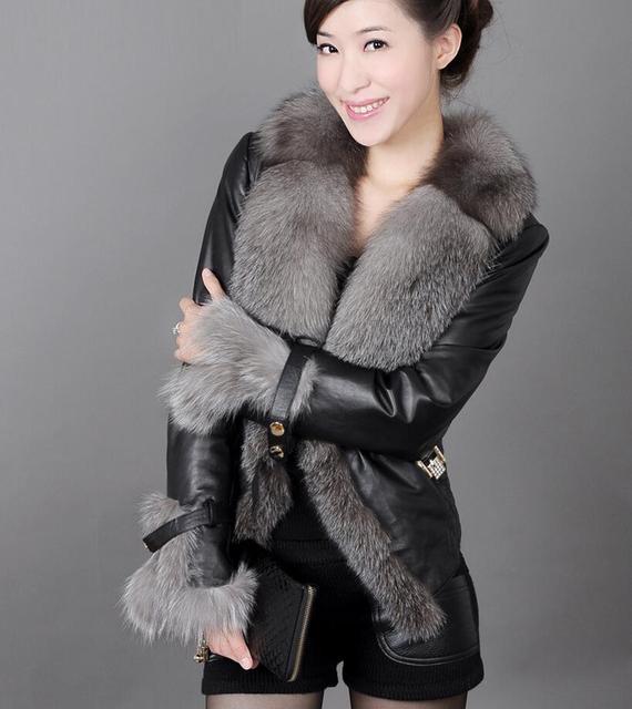 2018 Mode Hiver Femme Manteau De Fourrure Faux Fourrure De Renard Patchwork  PU Veste Courte Femmes 591f75a48ae7