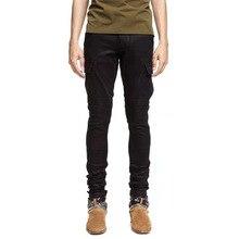 男パンツジーンズ修飾語リブストレッチパンツバイカージーンズ黒スリムズボン男性服