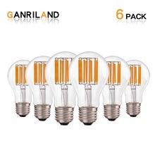 GANRILAND Dimmable A19 Globe Lamp LED Filament Light Bulb 10W 2700K E27 110V 220V Decorative Vintage Pendant Lampada Led