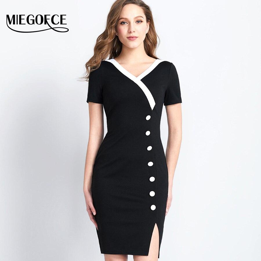 MIEGOFCE Reife Elegante frauen Büro Kleid Fashion Halb Hülsen dünne ...