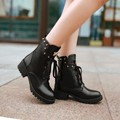 Boots PU new 31 32 33 48 47 46 45 44 43 40 41 Woman's shoes high heel 4CM Thick heel EUR Size 30-49