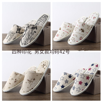 Free Shipping New 10pairs/lot Mixed Color Kawaii Cartoon Cotton Hotel Beauty Family Printed Disposable Slippers Wholesale