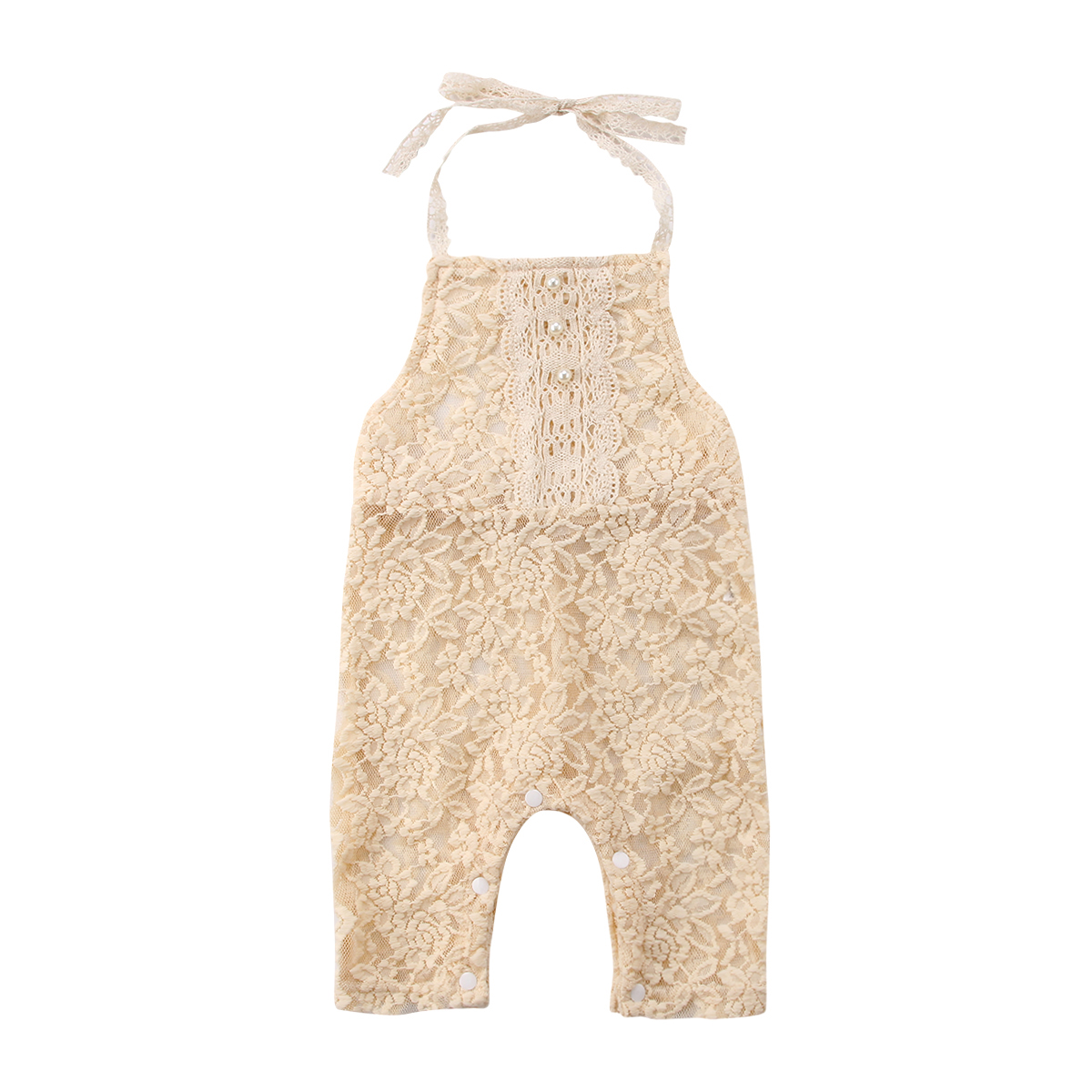 Newborn Toddle Infant Baby Girls Clothes Lace Pearl Floral Halter Sleeveless   Romper   Jumpsuit Playsuit Fashion Baby Girl 0-24M