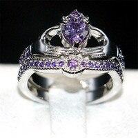 Claddagh In Possesso di Cuore di amore Viola 5a Zircon Crown Wedding Ring Set Eterna oro bianco 10KT riempito Monili di Cristallo regalo SZ 5-10