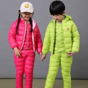 Image 2 - เด็กชุดเด็กหญิงชุดฤดูหนาว 1 7T ลงฝ้ายแจ็คเก็ต + กางเกงกันน้ำเด็กอุ่นชุด 2/3pcs