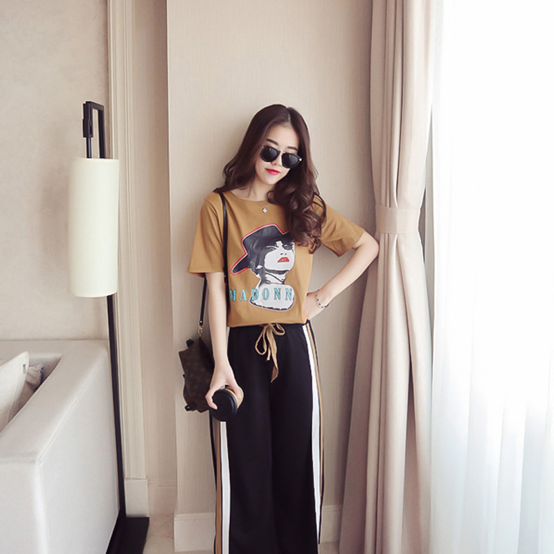 2019 Women  Two Piece Set Summer Short Sleeve T-Shirts Split Wide Leg Pants 2 Pieces Set