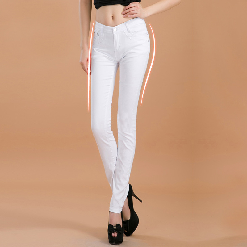 2017 new fashion female slim show thin candycolor pencil denim pants women s solid color casual