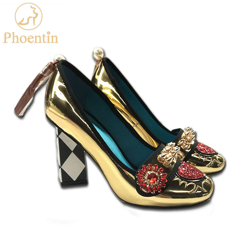 Phoentin gold high heels women crystal flower shoes fringe with rivet 2019 fashion appliques ladies pumps
