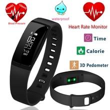 V07 Smart Band Приборы для измерения артериального давления сердечного ритма Мониторы наручные часы умный Браслет Фитнес браслет трекер Шагомер Браслет