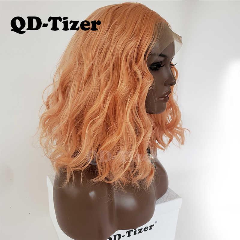 QD-Tizer Oranje Kleur Losse Golf Synthetische Lace Front Pruik Korte Lob Haar Lijmloze met Baby Hair Lace Front pruiken voor Zwarte Vrouwen