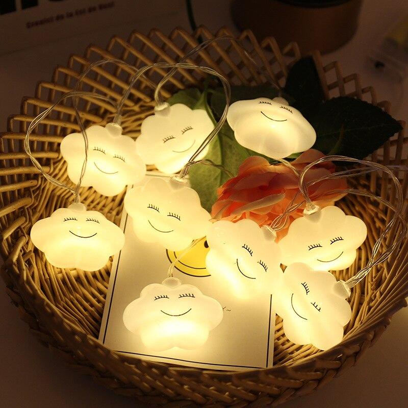 1.5M Cloud String Lights Lamp 10LED Novelty Fairy Light Garland For Children Bedroom Home Decoration Battery Powered 3 Color