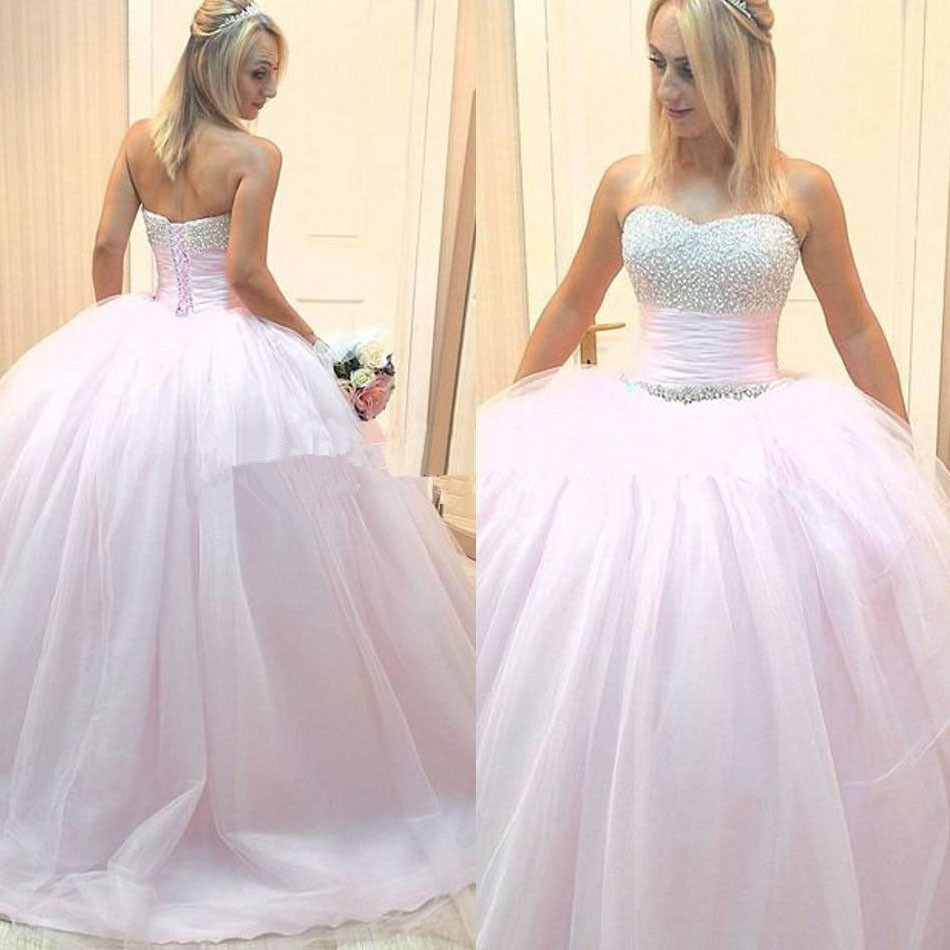 Light Pink Wedding Gown: 2017 Princess Style Tulle Beads Ball Gown Floor Length