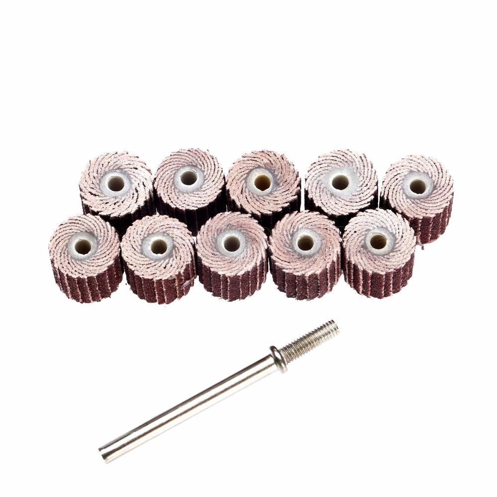 10 stuks 240-korrel 10 x 10x 3 mm schuurflap Schijfflapwielen Borstel Zand Rotatiegereedschap Dremel Accessoires accesorios dremel