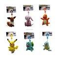 "Envío Gratis 10/Lot 6 Estilo Empuje Bulbasaur Charmander Squirtle Mew Pikachu Eevee Llavero Peluche Muñeco De Peluche 3.5-4"""