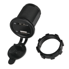 Universal 2.1A Motorcycle, Truck, Car USB Charger, Dual Usb Auto Charger With Voltage Meter Power Adapter Socket