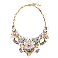 Чешский Великолепный Цветок Кластера Ожерелье Преувеличены Многоцветный Лето Заявление Биб Ожерелье