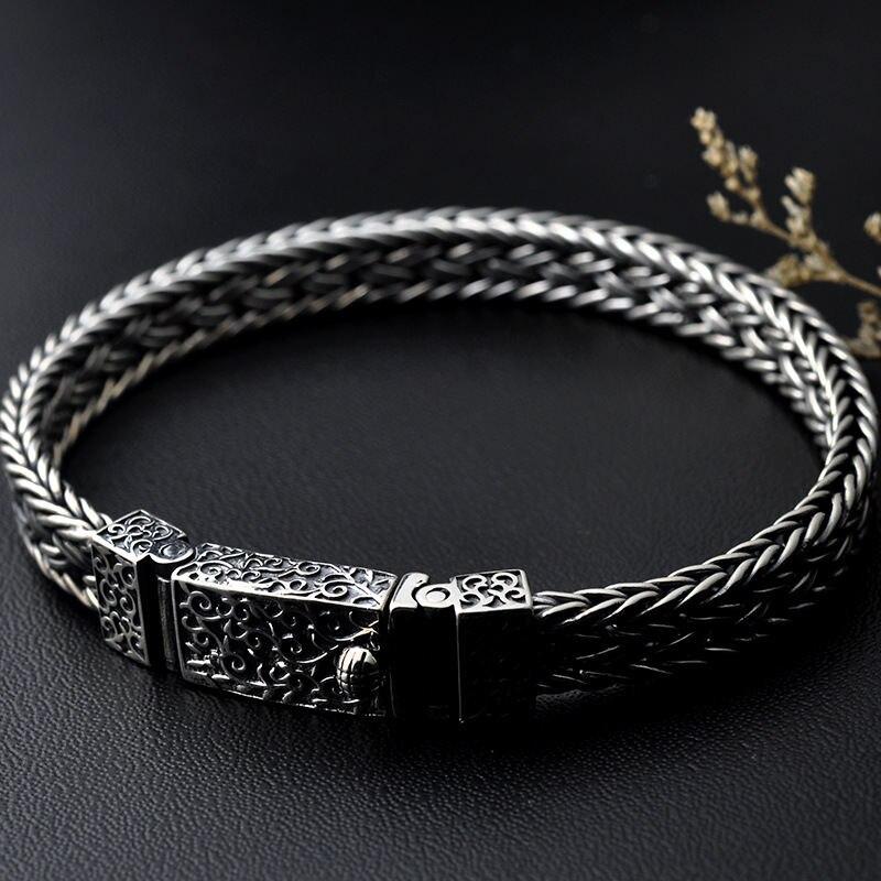 GAGAFEEL, 100%, 925, серебряные браслеты, ширина 8 мм, классический провод кабель, звено цепи, S925, тайские серебряные браслеты для женщин, мужчин, ювелирное изделие, подарок - 5
