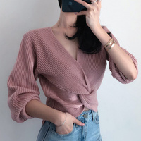 Women V Neck Sweater Top Vintage Criss cross Twisted Design Cropped Sweater Korean Knitted Jumpers Ladies Pullovers Long Sleeve