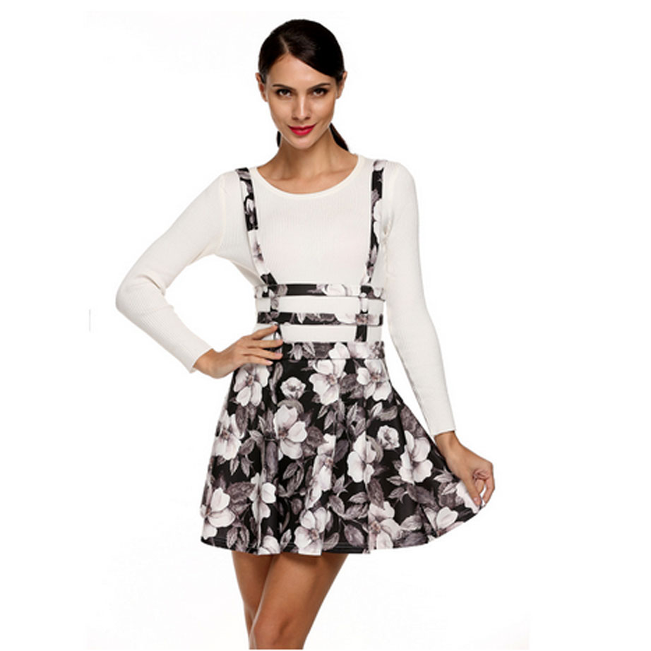 6603fa90c59 2017 Summer Women s Skirt Retro Vintage High Waist Skirt Girl Floral Print Hollow  Out A Line Suspender Skirt Jupe Courte-in Skirts from Women s Clothing   ...