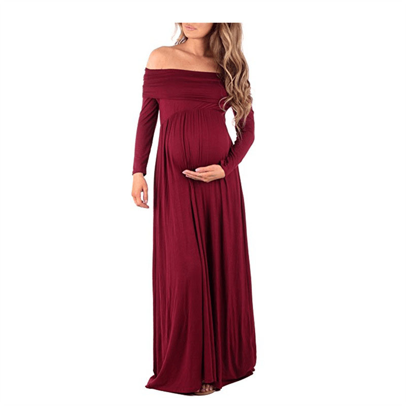 2018 Maternity Dress Photo Shoot Maxi Maternity Gown SPLIT FRONT Maternity Gown shoulderless Sexy Maternity Photography Props ...