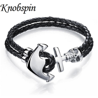 Genuine Leather Braided Accessories Anchor Stainless Steel Bracelets Bangles Rock Jewelry Fashion Men S Bracelet 2016