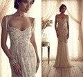 Анна кэмпбелл свадебные платья 2016 милая линии бисероплетение кристалл кисточкой Большой размер кружева аппликации с бантом потрясающие свадебные платья