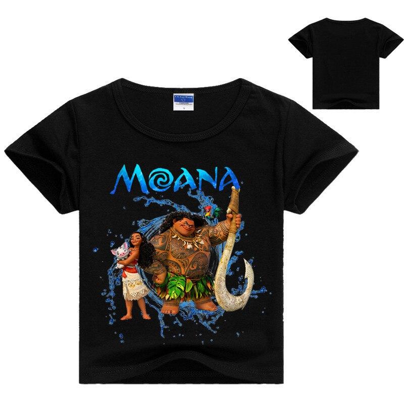 Été garçon T-shirt populaire Moana coton à manches courtes impression T-shirt enfants garçons filles dessin animé vêtements DS19