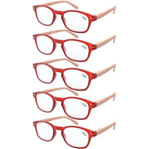 Image 5 - Eyekepper R034 5 pack الربيع المفصلي الأسلحة الخشب الحبوب المطبوعة القراءة نظارات الشمس القراء + 0.50     4.00