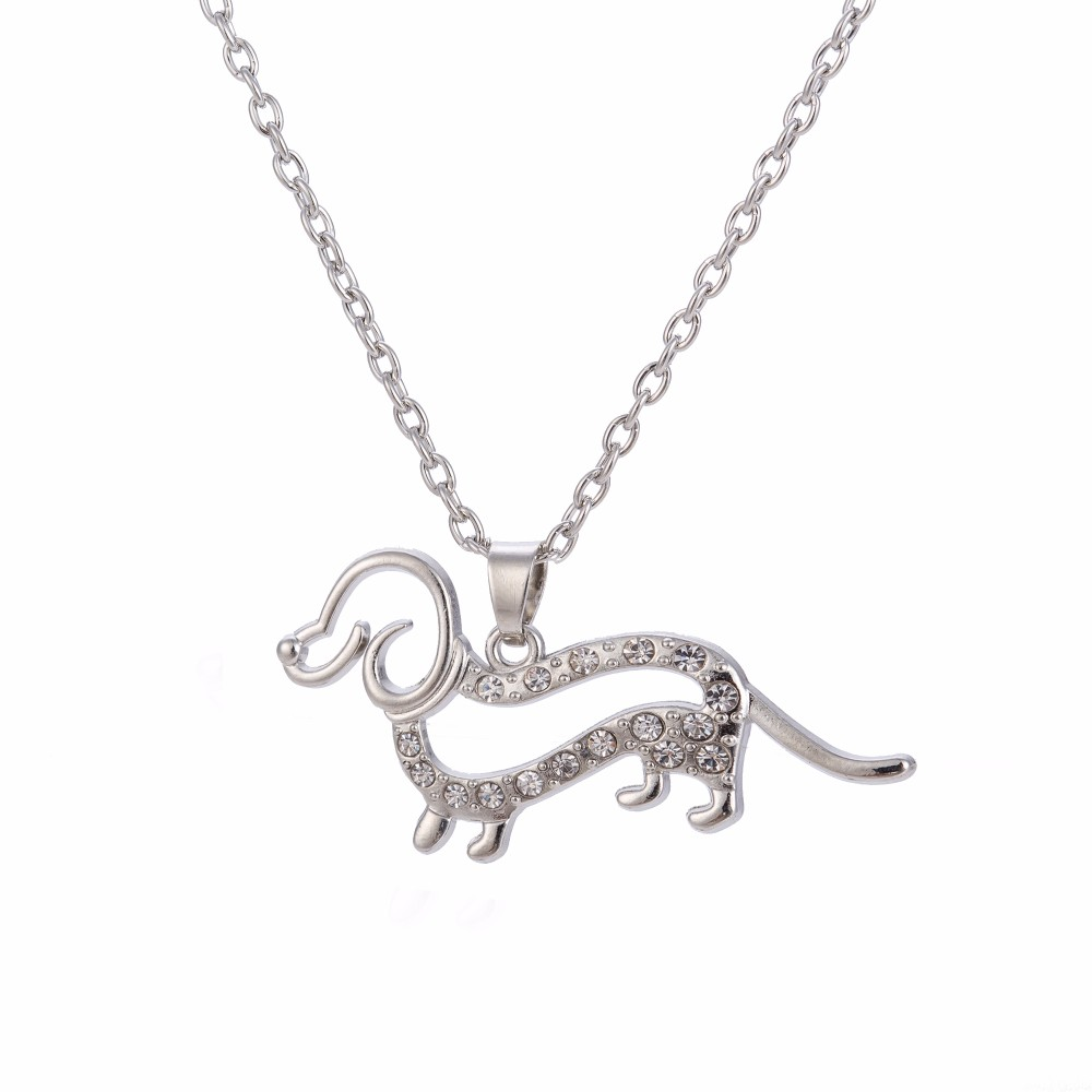 Skyrim Crystal Cute Little Puppy Dog Pendant Necklace Silver Plated Dachshund Necklace dog jewelry for women 15