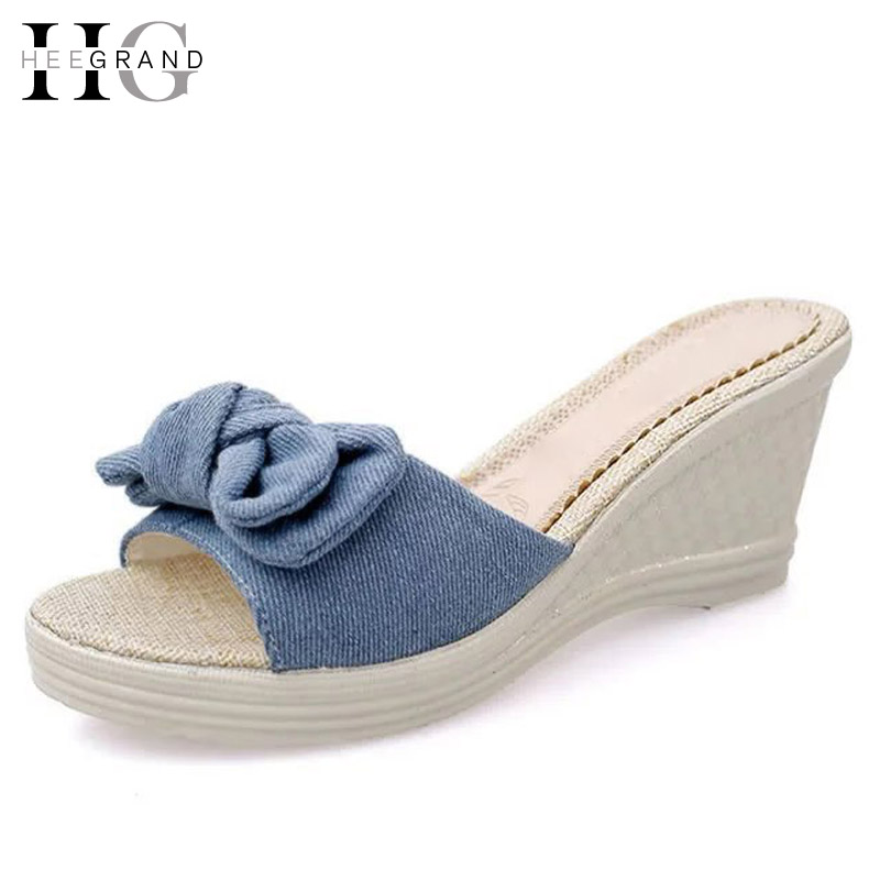 HEE GRAND Denim Wedges Sandals Summer Bowtie Creepers Platform Shoes Woman Slip On Casual Slippers Sweet Women Shoes XWT436 choudory bohemia women genuine leather summer sandals casual platform wedge shoes woman fringed gladiator sandal creepers wedges