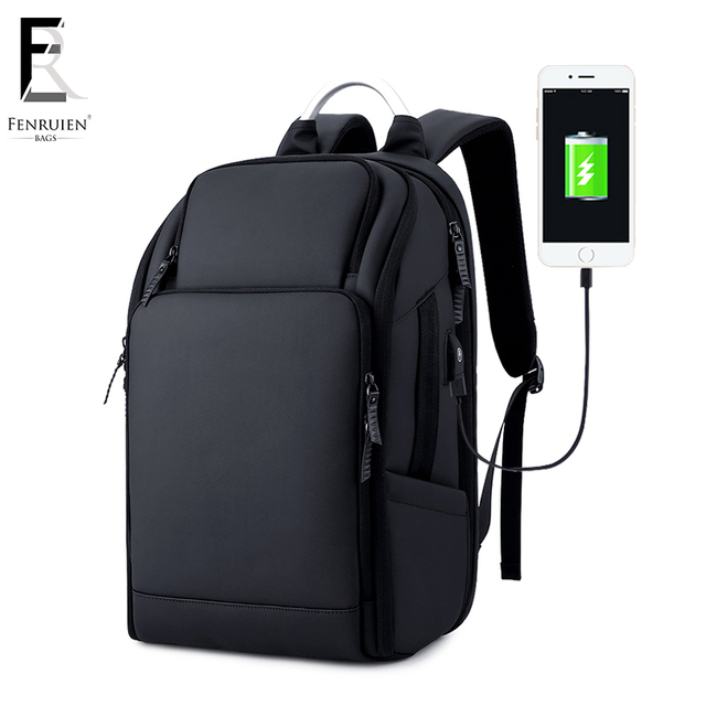FRN Business Men's Backpack Black USB Charging Anti Theft Laptop Backpack 17 Inch Male Large Capacity Fashion Travel Backpacks