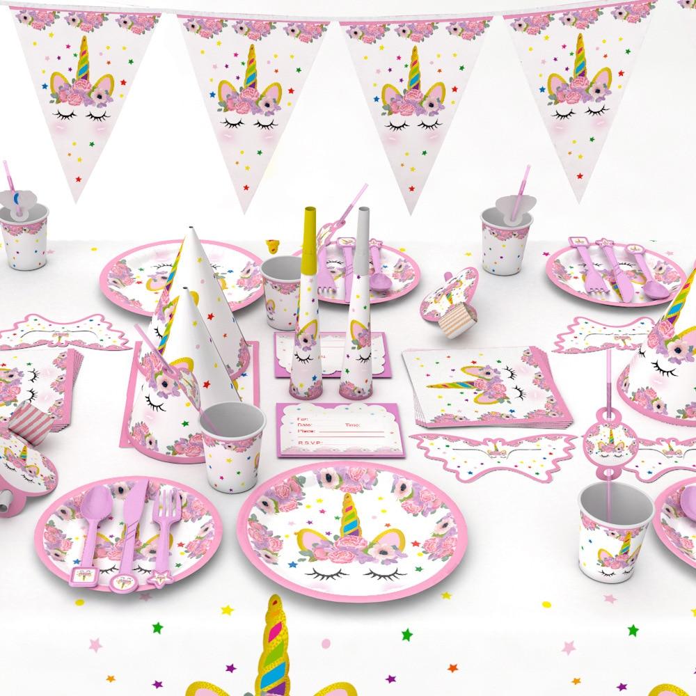 Unicorn Party Kits 1st Birthday Unicorn Paper Cups/Plates/Napkin Birthday Decorations Kids Baby Shower Party Supplies